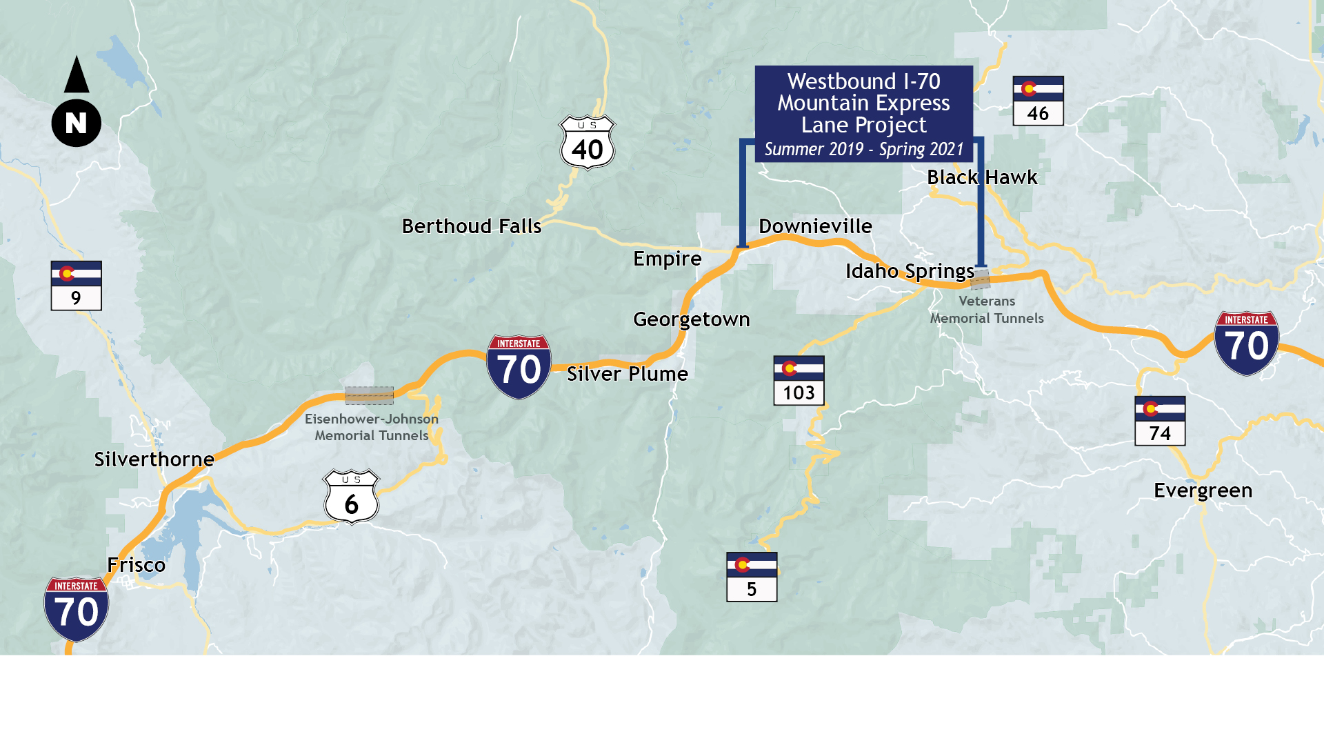 I-70 Mountain corridor map