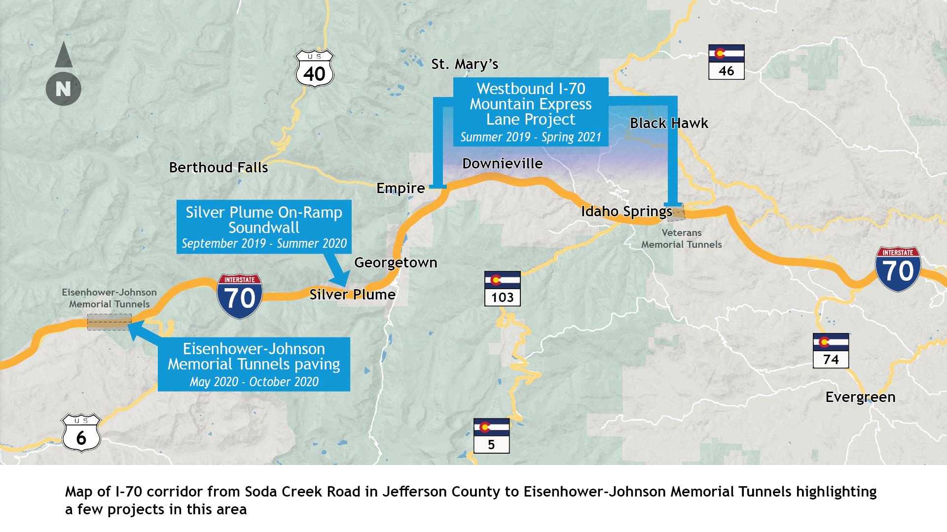 I-70 Mountain corridor map