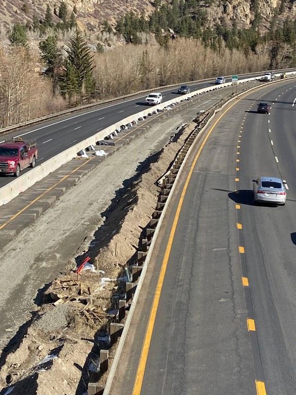 Eastbound median work near Mile Point 231