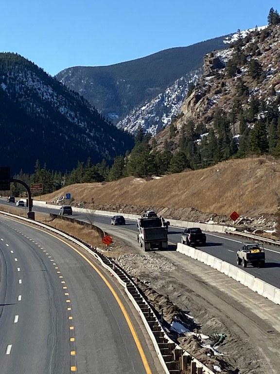 Truck hauling in the median area