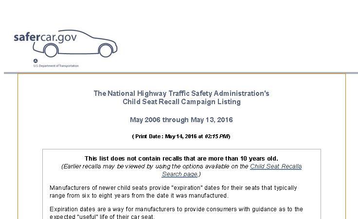 Safe Car Gov >> Recall List Safecar Gov