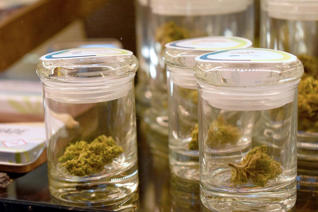 Cannabis in jars, marijuana in jars