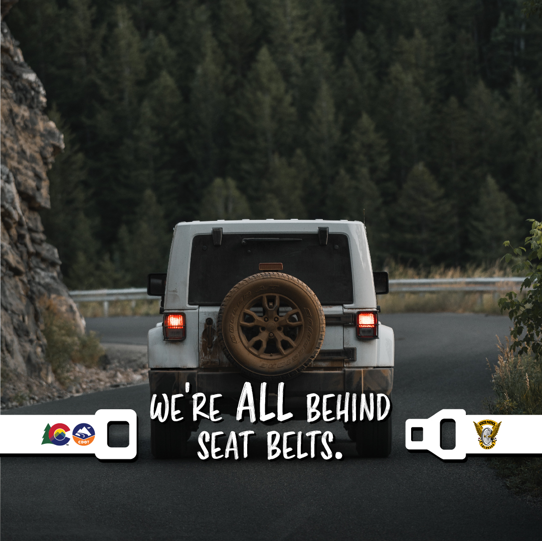 We're All Behind Seat Belts, jeep, seat belt