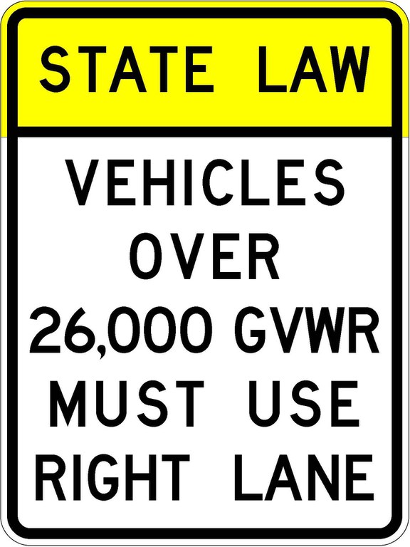 R4-5a State Law Vehicles Over 26,000 GVWR Must Use Right Lane