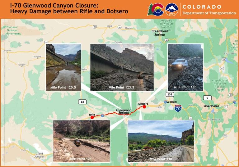 I-70 Glenwood Canyon Photos of High Damage Areas