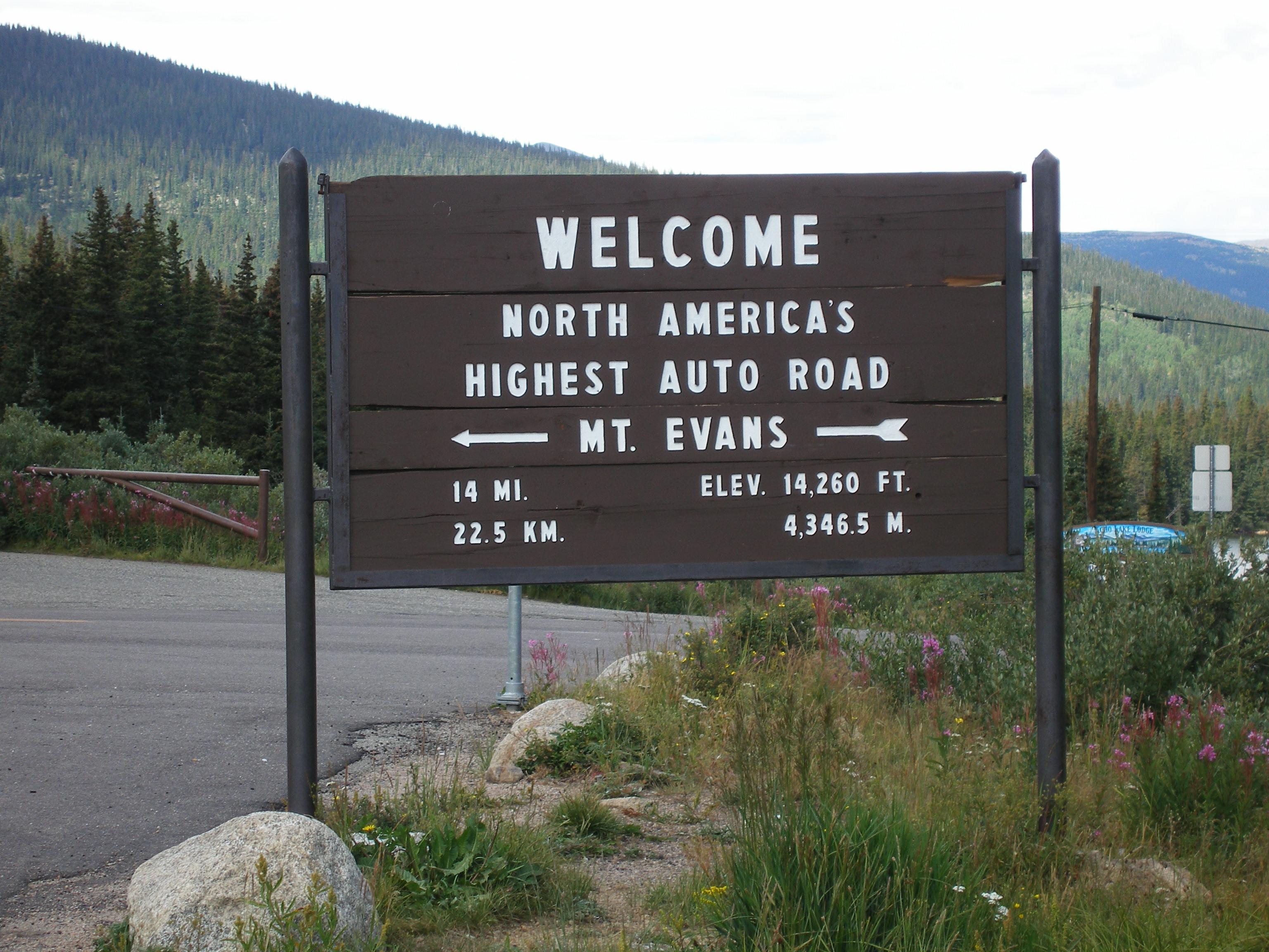 Mt. Evans Road Entrance Sign detail image