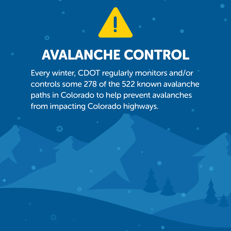 Road Closed. When there is a high risk of avalanche danger, CDOT will close highways at the location of the avalanche path in order to conduct avalanche control. Snow flakes. Red caution logo.